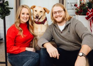 Megan Gould with her dog and fiancé - Nelnet Sidekicks
