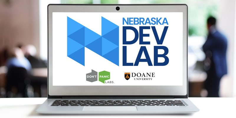 Nebraska Dev Lab Pipeline Program logo displays on open laptop screen
